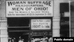 تجمع زنان در کلیولند آمریکا برای حق رای در سال ۱۹۱۲