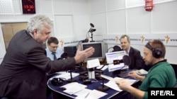 Валерий Зубов, Евгений Федоров, Владислав Иноземцев и Михаил Соколов в студии Радио Свобода