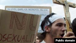 Extremiști români (Noua Dreaptă) manifestînd la București