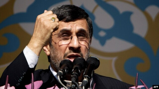 Iranian President Mahmud Ahmadinejad delivers a speech during a rally in Tehran to mark the 34th anniversary of the Islamic Revolution on February 10.