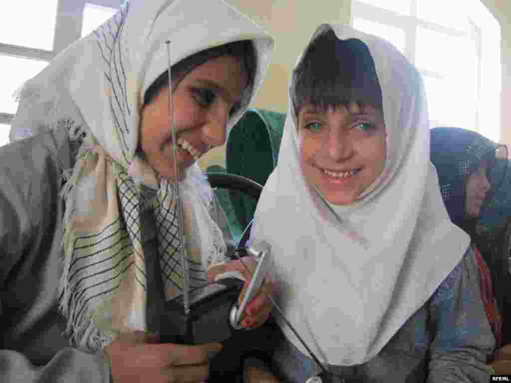 """I can't watch TV, but I love Radio Azadi. I am happy that I will be able to listen to it regularly now."" Girls at the Herat Blind Association."