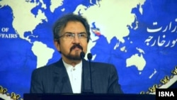 Iranian foreign ministry spokesman, Bahram Ghasemi speaks during a press conference in Tehran. Undated.