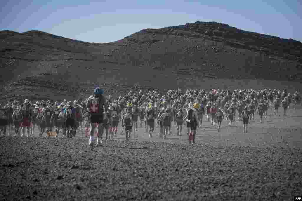 Участники сверхмарафона в пустыне Сахара.