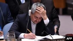 Посол Ирана при ООН Голамали Хошро на заседании Совета Безопасности ООН. Нью-Йорк, 20 июля 2015 года.