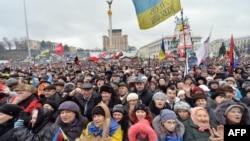 Украинаның Еуропа одағымен интеграциясын талап еткен демонстрация. Киев, Тәуелсіздік алаңы, 12 қаңтар 2014 жыл.
