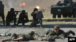 Kyrgyz soldiers take part in CSTO military exercises outside Bishkek.