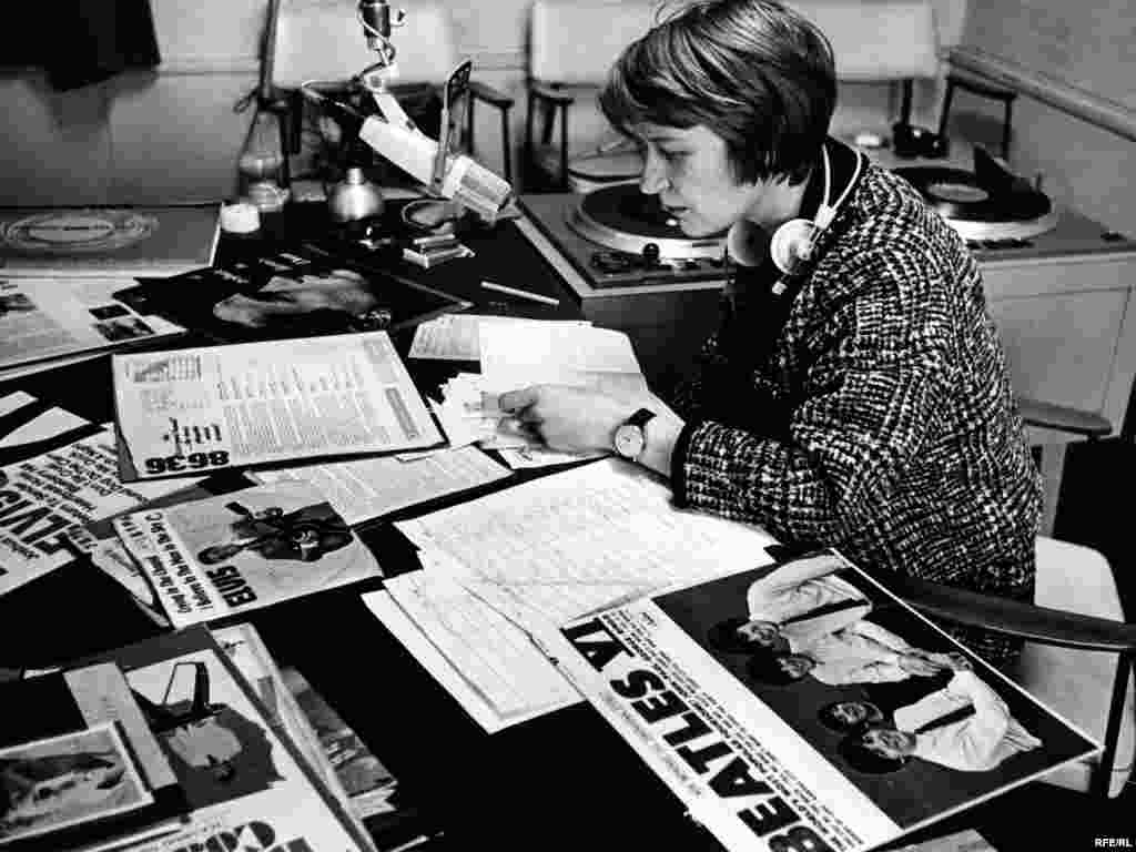 Germany -- Czechoslovak Service Broadcaster Rozina Jadrna prepares a music program in the 1960s. RFE/RL's programming included, and still includes, cultural items not accessible to people in its broadcast region.