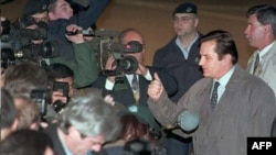 Haris Silajdžić u obraćanju medijima po dolasku u Dejton, 31. oktobar 1995.