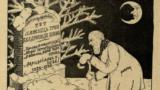 """Тут ляжыць труп беларускае школы. Малюнак Янкі Маразовіча. """"Маланка"""" (№ 1, 1926)."""