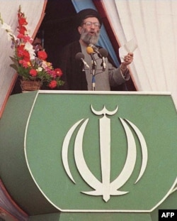 Iran's Ayatollah Ali Khamenei speaks during the 10th anniversary celebrations of Iran's Islamic Revolution on February 11, 1989.