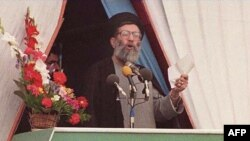 FILE: This photo taken on February 11, 1989 shows Iran's Ayatollah Ali Khamenei speaking during the 10th anniversary celebrations of Iran's Islamic revolution.