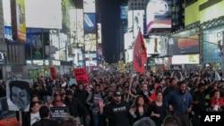 Демонстрация в Нью-Йорке 29 апреля 2015 года.