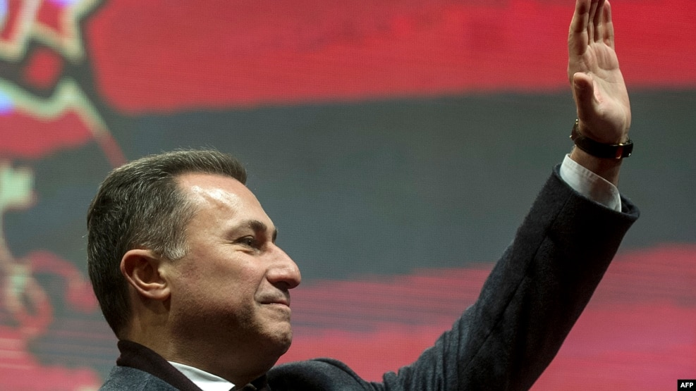 Former Macedonian Prime Minister Nikola Gruevski greeting supporters last year.