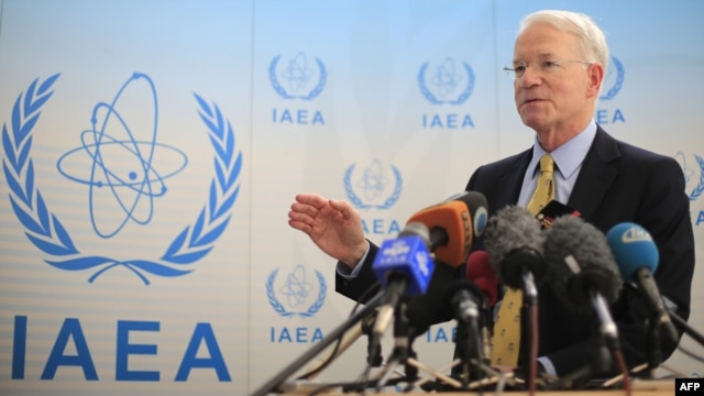 U.S. Ambassador to the United Nations Office in Vienna and to the International Atomic Energy Agency Joseph Macmanus speaks to media on the sidelines of the Board of Governors meeting at the UN atomic agency headquarters in Vienna, 06Mar2013