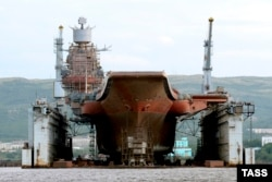 The Admiral Kuznetsov in the PD-50 floating dry dock in Murmansk in 2010