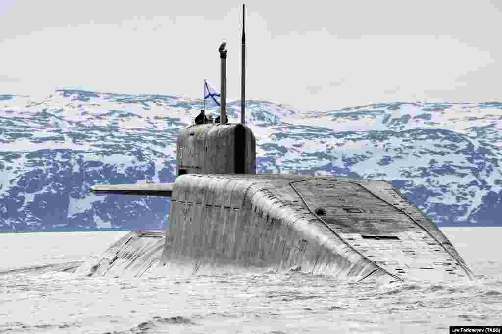A file photo of a Russian nuclear submarine near Murmansk. According to intelligence reports cited by Reuters, Russia recently staged a major submarine exercise in the North Atlantic.
