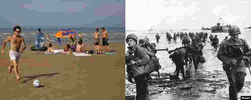 A combination photo shows U.S. reinforcements landing on Omaha Beach during the D-Day invasion near Vierville sur Mer, France, on June 6, 1944; and on the left, the same beach in August 2013.