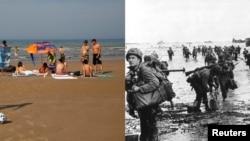 На Omaha beach під час висадки союзних військ 6 червня 1944 і фото того ж самого місця сьогодні
