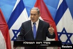 Premierul israelian Benjamin Netanyahu comentează acordul pentru presă la Ierusalim