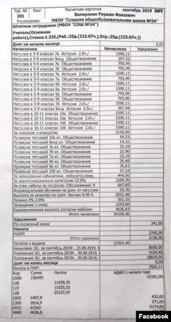 Расчетный лист зарплаты Раушана Валиуллина