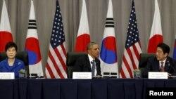 На саммите состоялась трехсторонняя встреча президентов США, Южной Кореи и Японии, 31 марта 2016