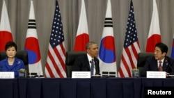 На саммите состоялась трёхсторонняя встреча президентов США, Южной Кореи и Японии, 31 марта 2016