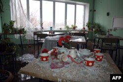 Shattered glass in a room at a hospital damaged by shelling in Donetsk in January.