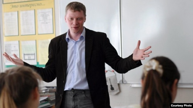 "Russian history teacher Mikhail Kopitsa has been reprimanded for trying to ""counter the flood of propaganda coming from the media."""