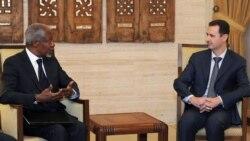 Кофи Аннан (слева) и Башар Асад на переговорах в Дамаске