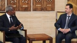 Syrian President Bashar al-Assad (right) met with UN-Arab League envoy Kofi Annan in Damascus on March 10.