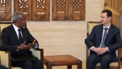 Syrian President Bashar al-Assad (right) meets with UN-Arab League envoy Kofi Annan in Damascus on March 10.