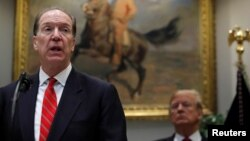 David Malpass speaks at an event with U.S. President Donald Trump at the White House in Washington on February 6.