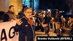 Rade Radovanović na protestu u Kragujevcu