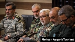Iran military officials (R to L); Gholamhossein Gheibparvar, Hossein Salami, Ataollah Salehi, Ayoub Soleimani, and Mehdi Rabbani, on March 24, 2019.