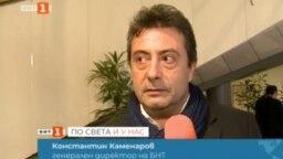 Константин Каменаров в кадър от репортажа от Брюксел.