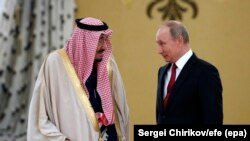 Владимир Путин и король Салман в Кремле. 5 октября 2017 года