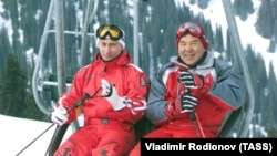 Владимир Путин у Нурсултана Назарбаева в 2002 году