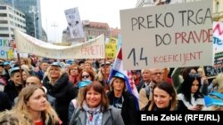 Sa protesta nastavnika i učitelja u centru Zagreba, 25. novembar