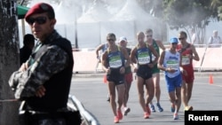 Race walkers at the Rio Olympics in Brazil in August.