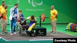 Раушан Қойшыбаеваның паралимпиада ойындарында штангаға келген сәті. Рио-де-Жанейро, 11 қыркүйек 2016 жыл.