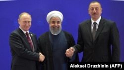 Президент России Владимир Путин, президент Ирана Хасан Роухани, президент Азербайджана Ильхам Алиев. 1 ноября 2017 года.