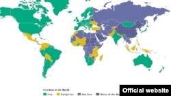 Свобода политических прав на карте мира. Подготовлено правозащитной организацией Freedom House. Иллюстративное изображение.