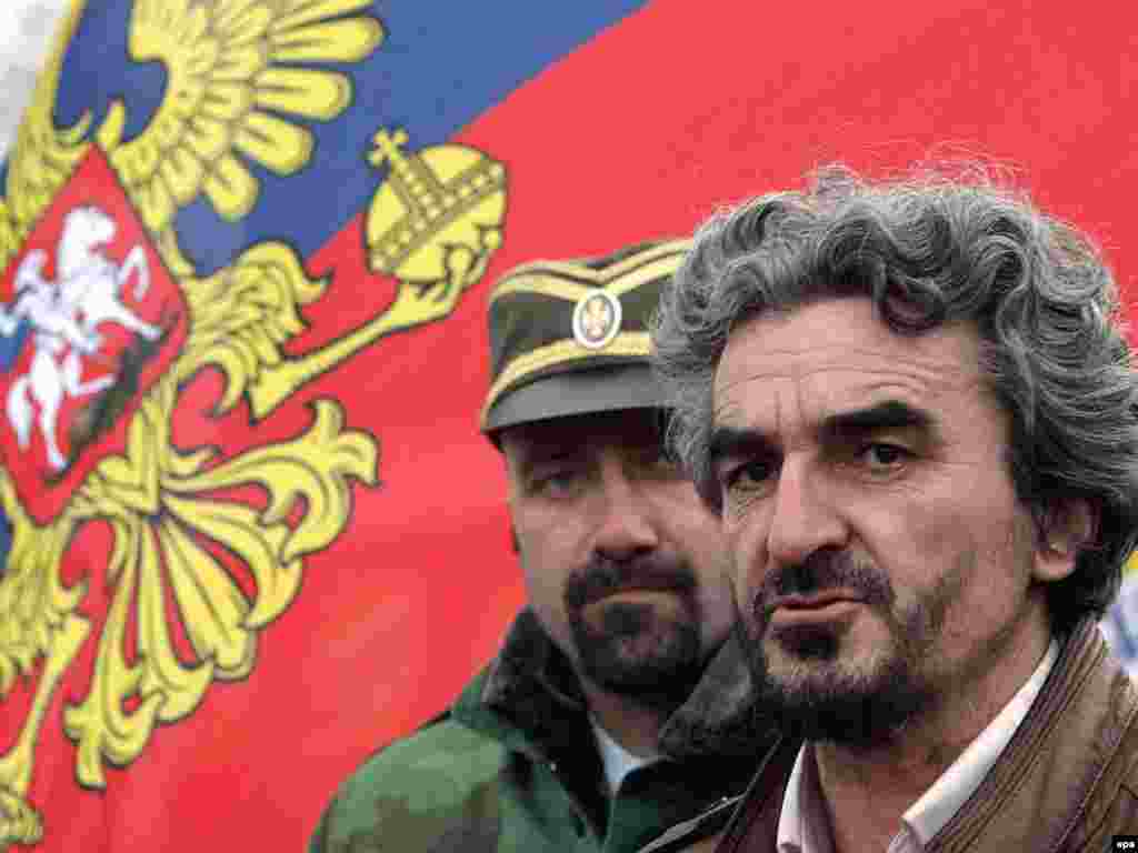 Hadzi Andrej Milic, the leader of the St. Tsar Lazar Guard, a Serbian paramilitary organization. In recent days, his group has blocked traffic on the border between Serbia and Kosovo.
