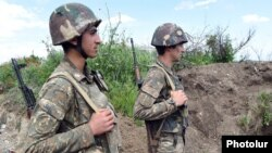 Nagorno-Karabakh - Armenian soldiers on frontline duty in northeastern Karabakh, 7May2016.