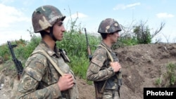 Armenian soldiers on frontline duty in northeastern Karabakh