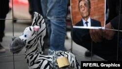 На площади Первой республики активисты установили клетку с прикованной к решетке игрушечной зеброй и фотографией Бидзины Иванишвили