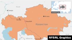 Поселок Калыбай на карте Казахстана.