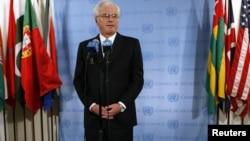 Посол Росії в ООН Віталій Чуркін після голосування захищає позицію Москви на підтримку сирійського режиму
