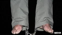 A man executed in a rare public hanging in Tehran in January 2010.