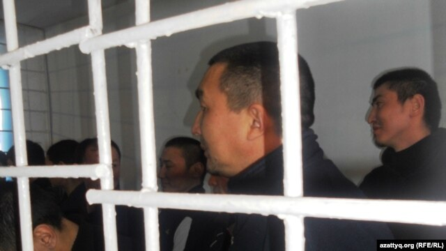 The accused in the Aqtobe courtroom on December 14.